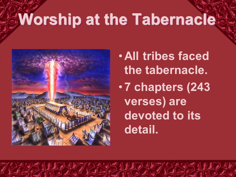 All tribes faced the tabernacle. 7 chapters (243 verses) are devoted to its detail.