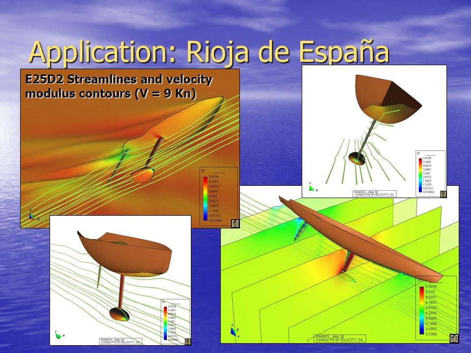 Application: Rioja de España E25D2 Streamlines and velocity modulus contours (V = 9 Kn)
