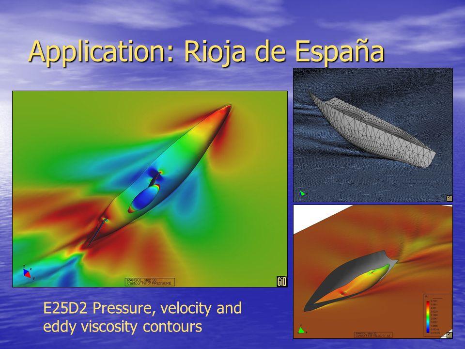 Application: Rioja de España E25D2 Pressure, velocity and eddy viscosity contours