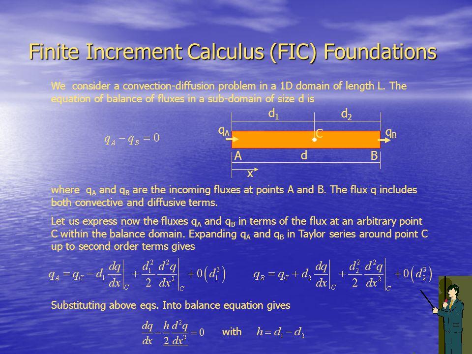 Finite Increment Calculus (FIC) Foundations AB C d1d1 d2d2 d x qAqA qBqB We consider a convection-diffusion problem in a 1D domain of length L. The eq