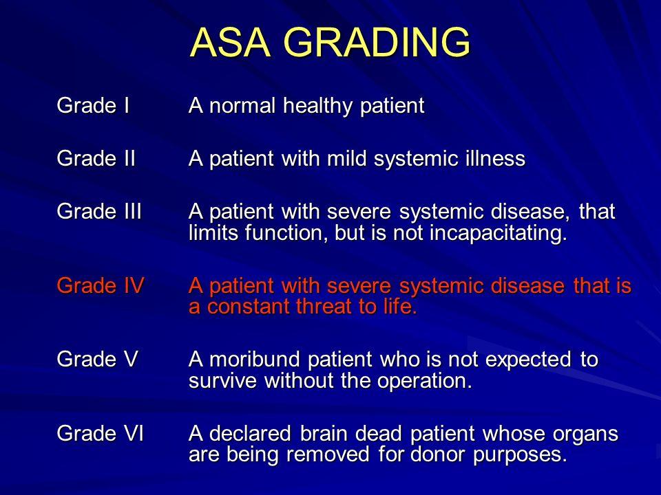ASA GRADING Grade IA normal healthy patient Grade IIA patient with mild systemic illness Grade IIIA patient with severe systemic disease, that limits