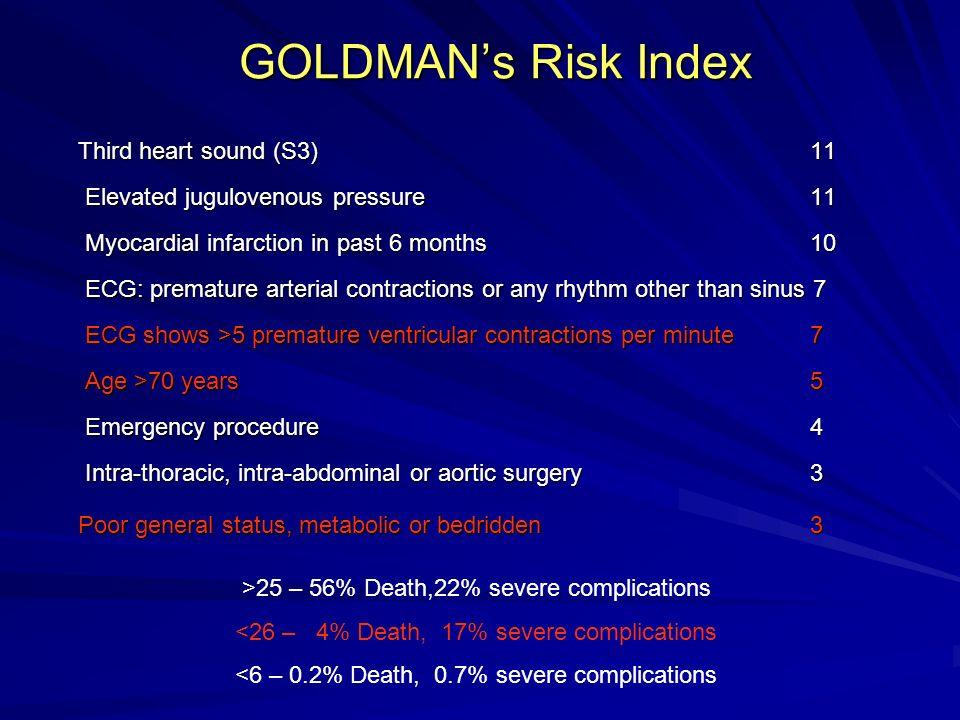 GOLDMANs Risk Index Third heart sound (S3) 11 Elevated jugulovenous pressure 11 Myocardial infarction in past 6 months 10 ECG: premature arterial cont