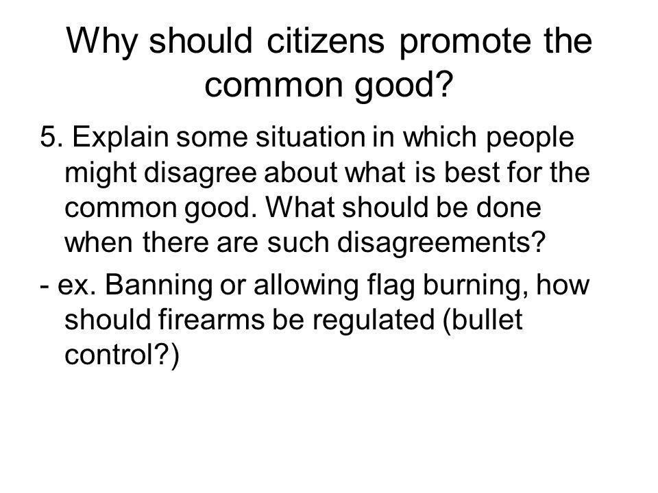 Why should citizens promote the common good? 5. Explain some situation in which people might disagree about what is best for the common good. What sho