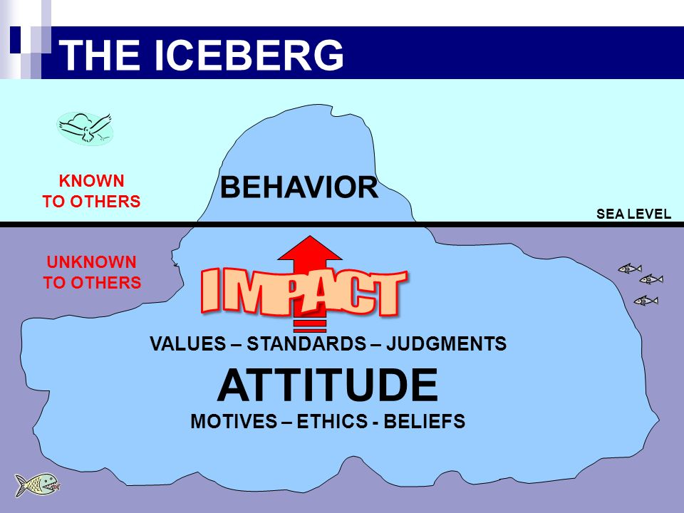 11 THE ICEBERG SEA LEVEL BEHAVIOR VALUES – STANDARDS – JUDGMENTS ATTITUDE MOTIVES – ETHICS - BELIEFS KNOWN TO OTHERS UNKNOWN TO OTHERS