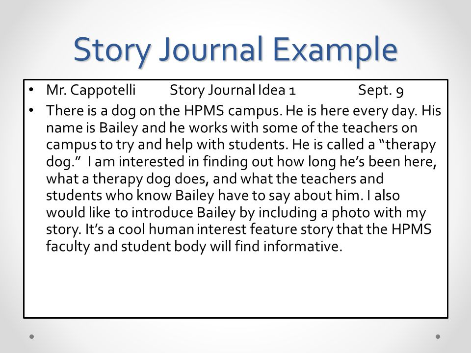 Story Journal Example Mr. CappotelliStory Journal Idea 1Sept.