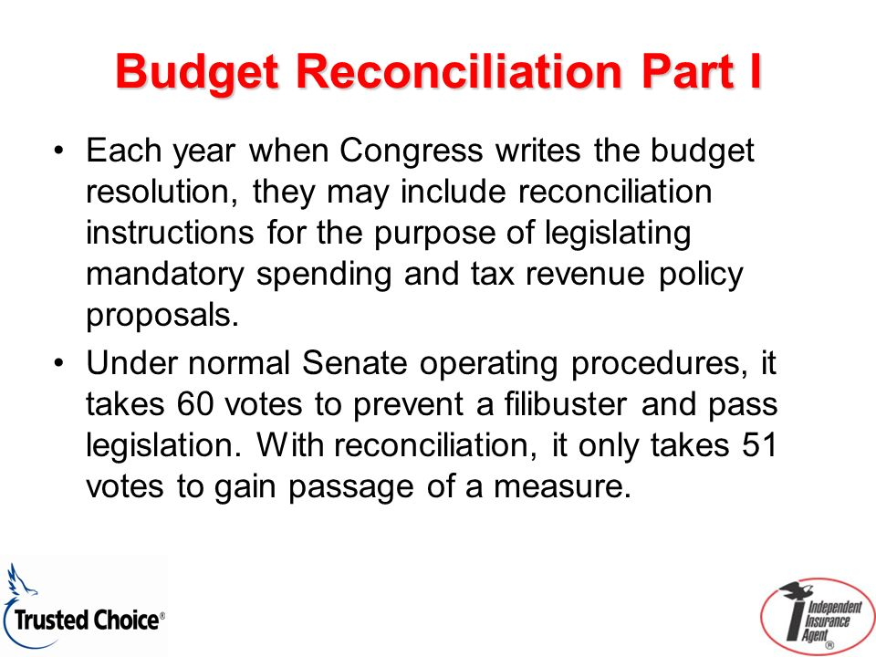 Budget Reconciliation Part I Each year when Congress writes the budget resolution, they may include reconciliation instructions for the purpose of legislating mandatory spending and tax revenue policy proposals.