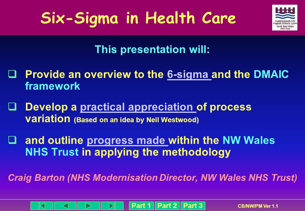 Part 1Part 2Part 3 CB/NW/PM Ver 1.1 Six-Sigma in Health Care This presentation will: Provide an overview to the 6-sigma and the DMAIC framework6-sigma