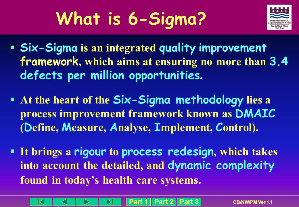 Part 1Part 2Part 3 CB/NW/PM Ver 1.1 What is 6-Sigma? Six-Sigma is an integrated quality improvement framework, which aims at ensuring no more than 3.4