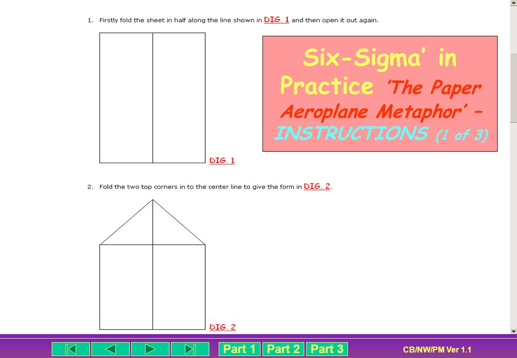 Part 1Part 2Part 3 CB/NW/PM Ver 1.1 Six-Sigma in Practice The Paper Aeroplane Metaphor – INSTRUCTIONS (1 of 3)