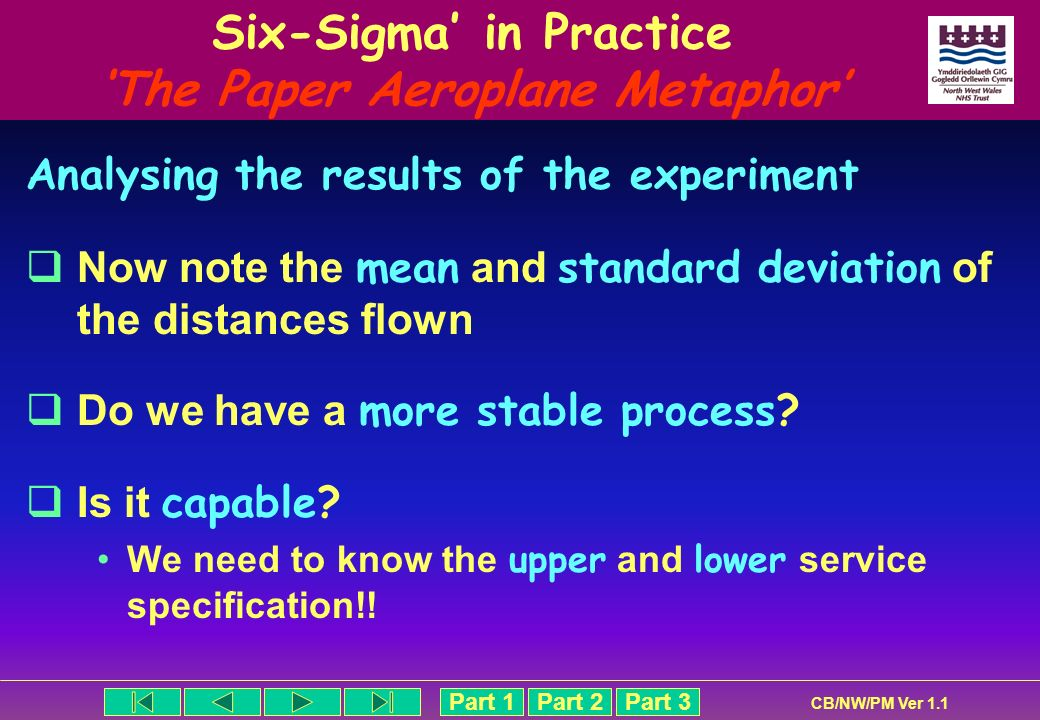 Part 1Part 2Part 3 CB/NW/PM Ver 1.1 Six-Sigma in Practice The Paper Aeroplane Metaphor Analysing the results of the experiment Now note the mean and s