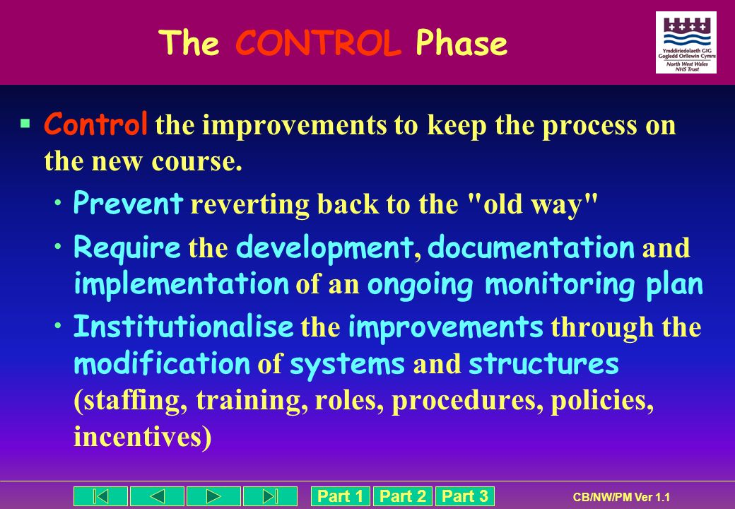 Part 1Part 2Part 3 CB/NW/PM Ver 1.1 The CONTROL Phase Control the improvements to keep the process on the new course. Prevent reverting back to the