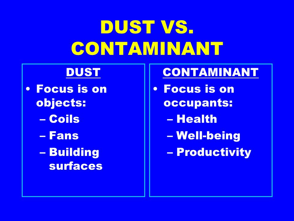 DUST VS. CONTAMINANT DUST Focus is on objects: –Coils –Fans –Building surfaces CONTAMINANT Focus is on occupants: –Health –Well-being –Productivity