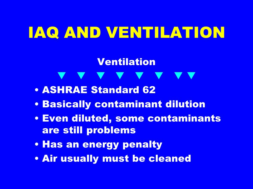 IAQ AND VENTILATION Ventilation ASHRAE Standard 62 Basically contaminant dilution Even diluted, some contaminants are still problems Has an energy penalty Air usually must be cleaned