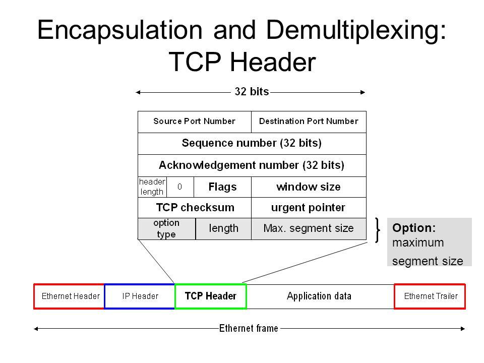Encapsulation and Demultiplexing: TCP Header Option: maximum segment size