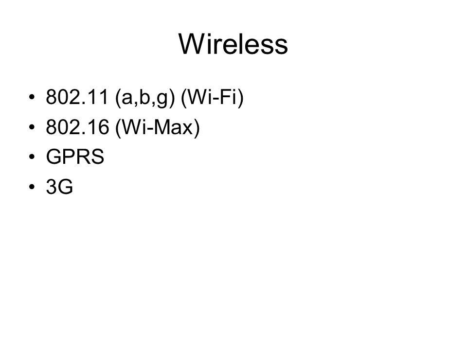Wireless 802.11 (a,b,g) (Wi-Fi) 802.16 (Wi-Max) GPRS 3G