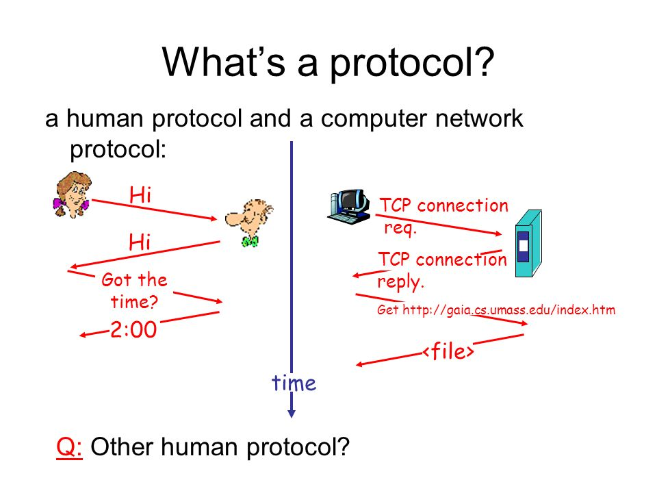 Whats a protocol? a human protocol and a computer network protocol: Q: Other human protocol? Hi Got the time? 2:00 TCP connection req. TCP connection