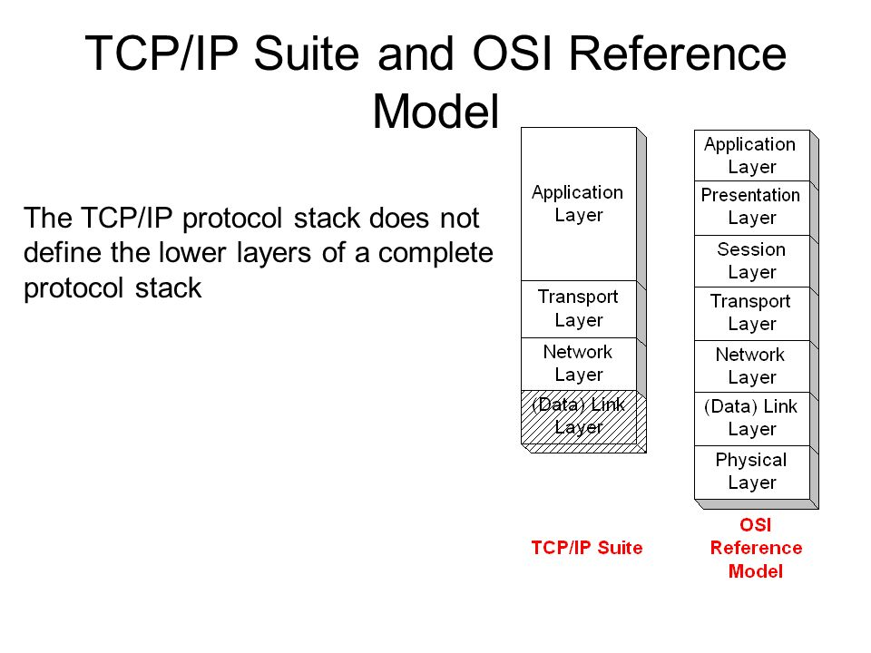 TCP/IP Suite and OSI Reference Model The TCP/IP protocol stack does not define the lower layers of a complete protocol stack