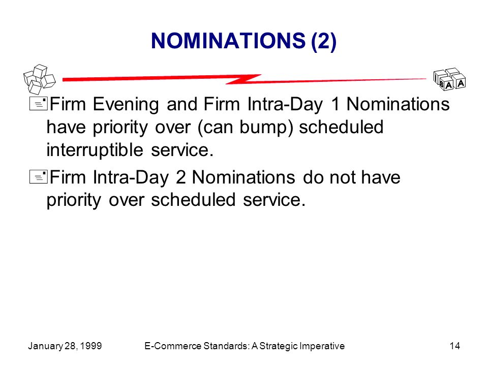 January 28, 1999E-Commerce Standards: A Strategic Imperative14 NOMINATIONS (2) +Firm Evening and Firm Intra-Day 1 Nominations have priority over (can bump) scheduled interruptible service.
