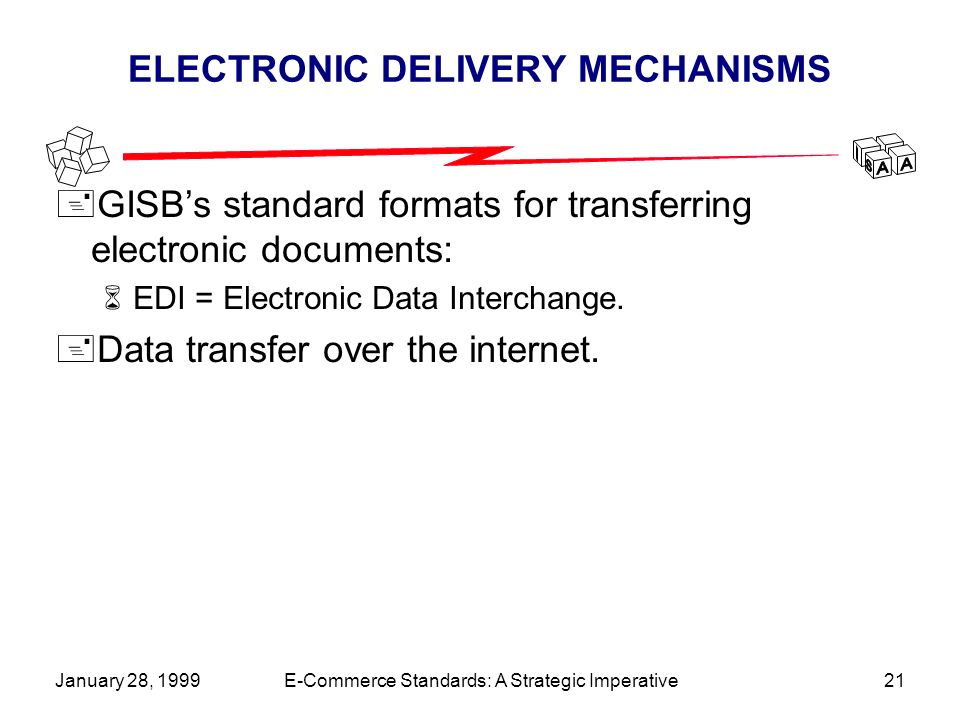 January 28, 1999E-Commerce Standards: A Strategic Imperative21 ELECTRONIC DELIVERY MECHANISMS +GISBs standard formats for transferring electronic documents: 6EDI = Electronic Data Interchange.