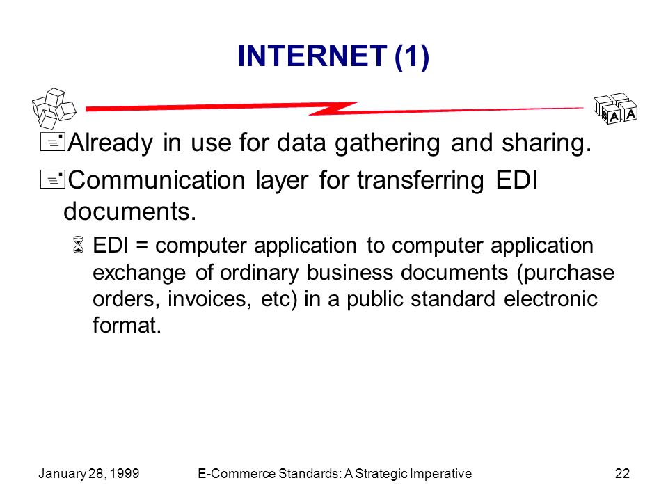 January 28, 1999E-Commerce Standards: A Strategic Imperative22 INTERNET (1) +Already in use for data gathering and sharing.