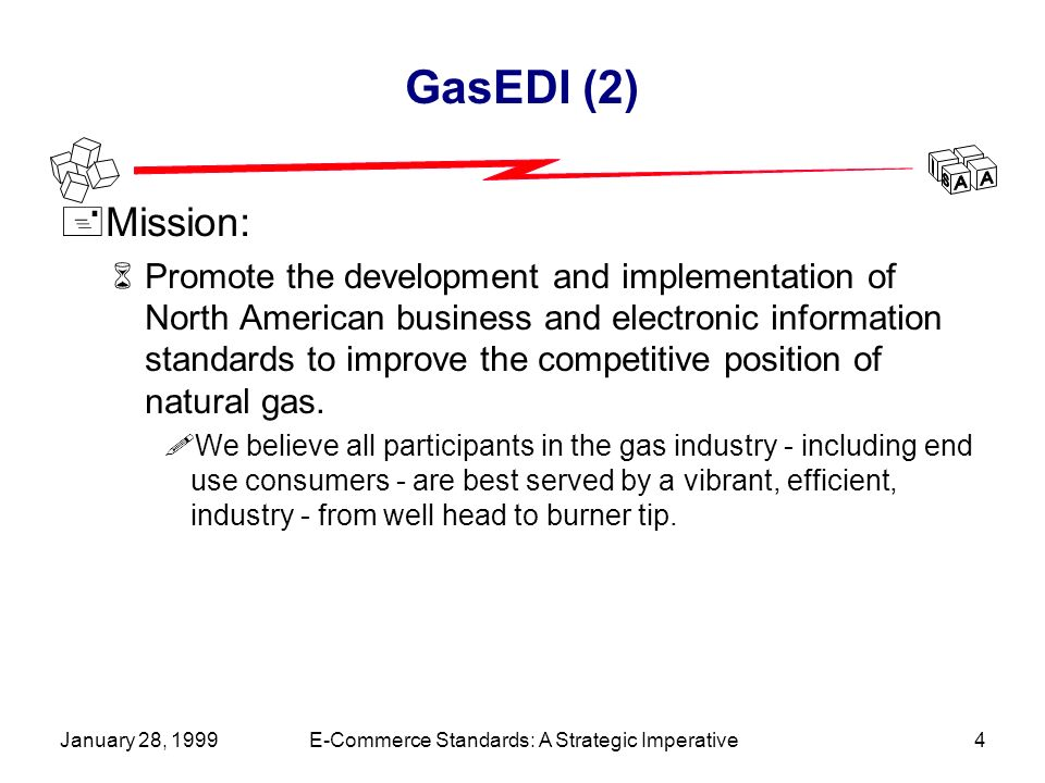 January 28, 1999E-Commerce Standards: A Strategic Imperative4 GasEDI (2) +Mission: 6Promote the development and implementation of North American business and electronic information standards to improve the competitive position of natural gas.