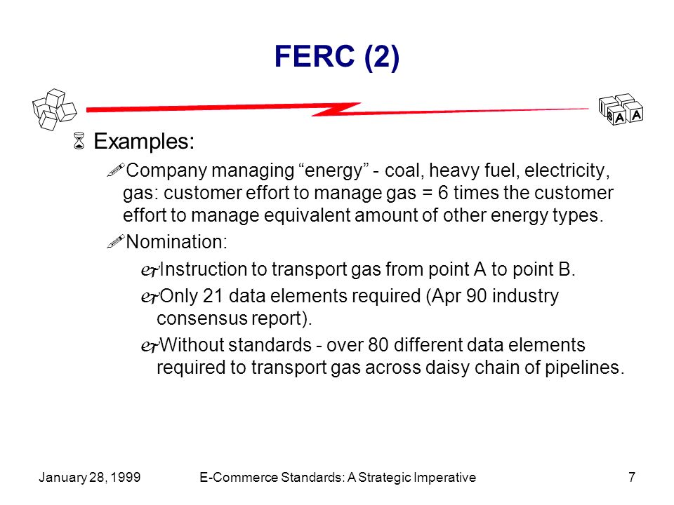 January 28, 1999E-Commerce Standards: A Strategic Imperative7 FERC (2) 6Examples: !Company managing energy - coal, heavy fuel, electricity, gas: customer effort to manage gas = 6 times the customer effort to manage equivalent amount of other energy types.
