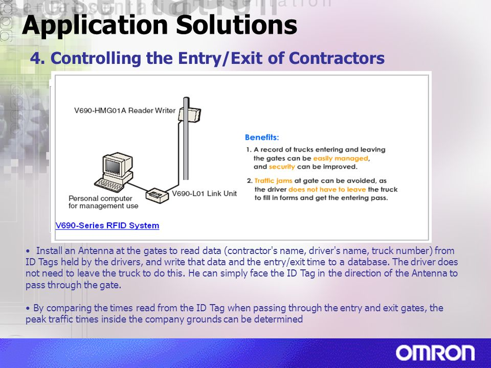 Application Solutions 4. Controlling the Entry/Exit of Contractors Install an Antenna at the gates to read data (contractor's name, driver's name, tru