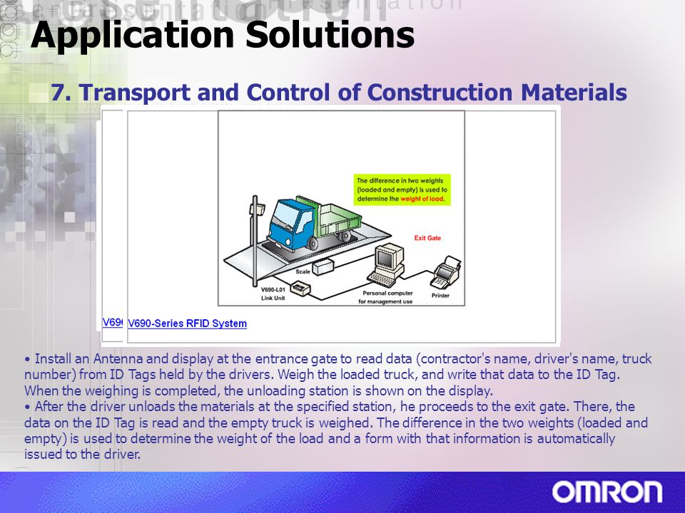Application Solutions 7. Transport and Control of Construction Materials Install an Antenna and display at the entrance gate to read data (contractor'