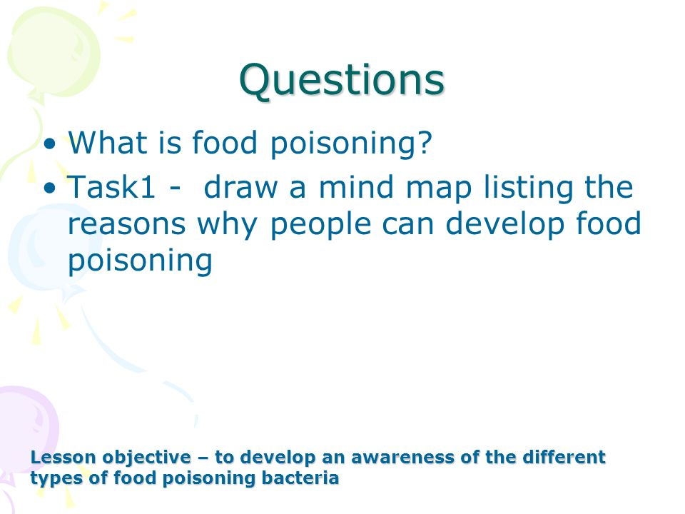 Questions What is food poisoning? Task1 - draw a mind map listing the reasons why people can develop food poisoning Lesson objective – to develop an a