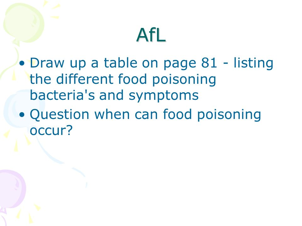 AfL Draw up a table on page 81 - listing the different food poisoning bacteria's and symptoms Question when can food poisoning occur?