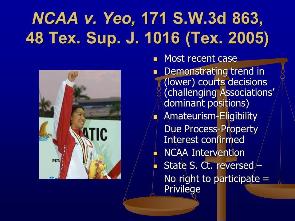 NCAA v. Yeo, 171 S.W.3d 863, 48 Tex. Sup. J. 1016 (Tex.