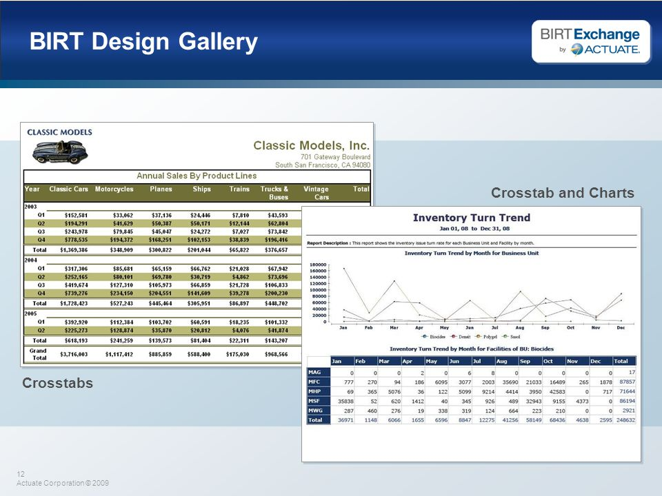 12 Actuate Corporation © 2009 BIRT Design Gallery Crosstabs Crosstab and Charts