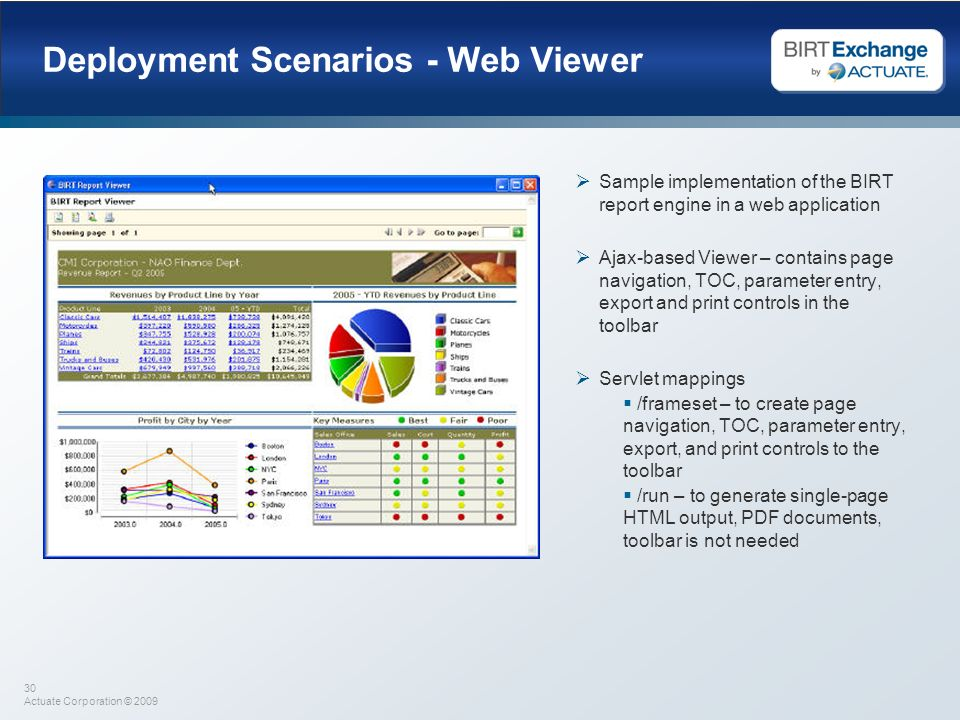 30 Actuate Corporation © 2009 Deployment Scenarios - Web Viewer Sample implementation of the BIRT report engine in a web application Ajax-based Viewer