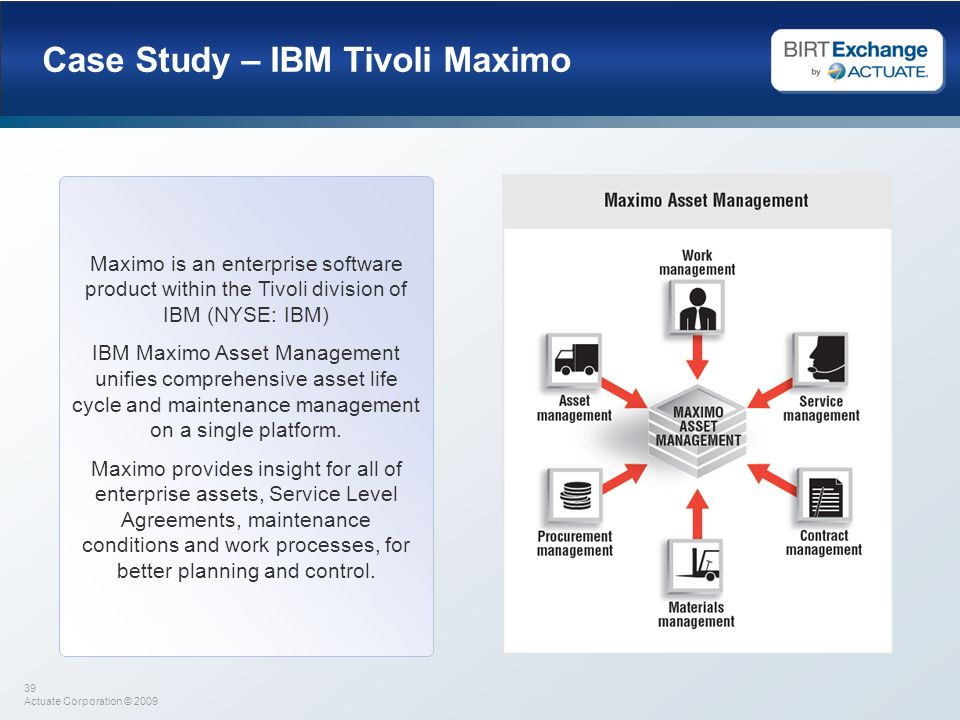 39 Actuate Corporation © 2009 Case Study – IBM Tivoli Maximo Maximo is an enterprise software product within the Tivoli division of IBM (NYSE: IBM) IB