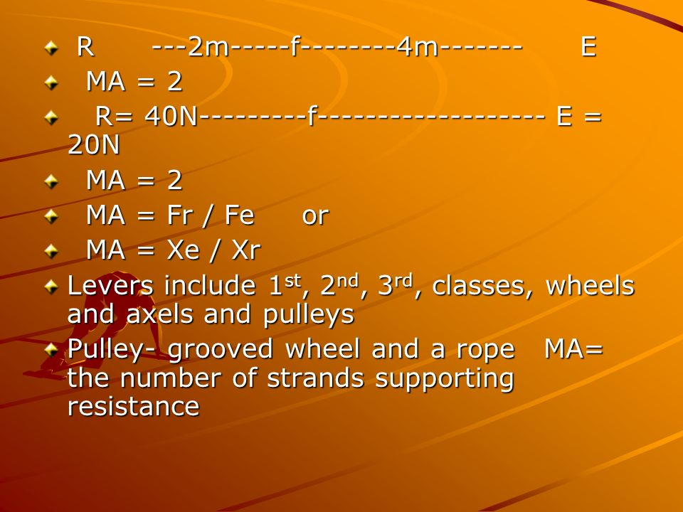 R ---2m-----f--------4m------- E R ---2m-----f--------4m------- E MA = 2 MA = 2 R= 40N---------f------------------- E = 20N R= 40N---------f----------