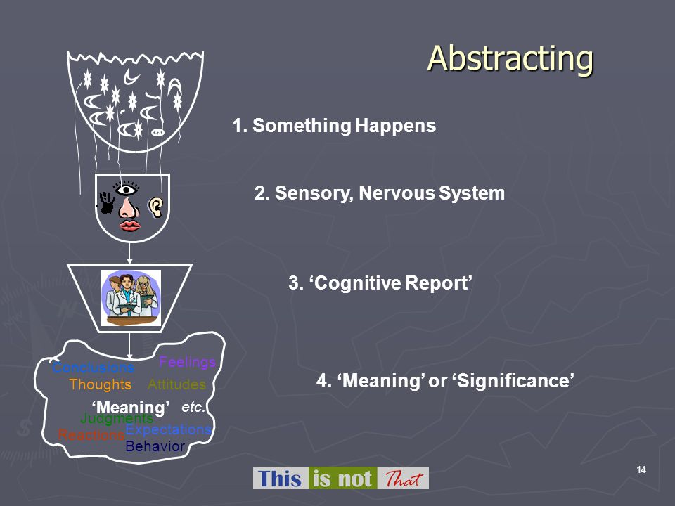 14 Abstracting Meaning Behavior Feelings Judgments Conclusions Reactions ThoughtsAttitudes etc. Expectations 1. Something Happens 2. Sensory, Nervous