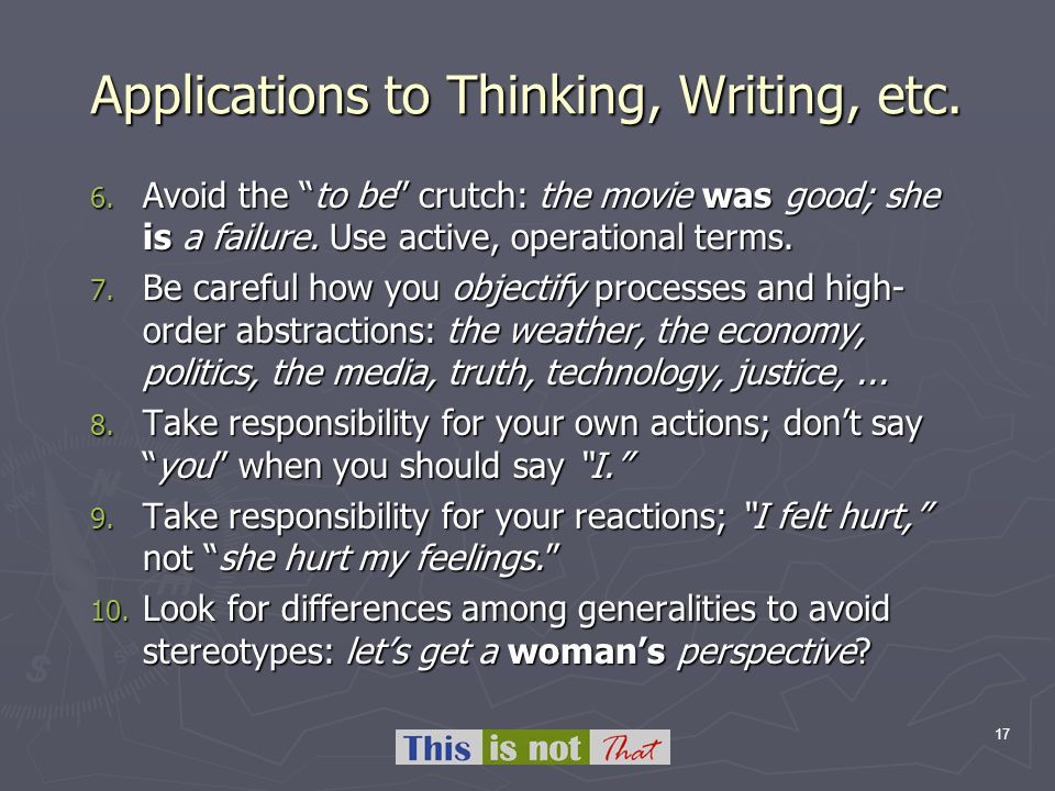 17 Applications to Thinking, Writing, etc. 6.