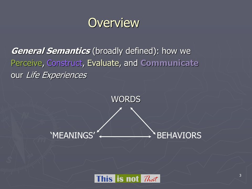 3 Overview General Semantics (broadly defined): how we Perceive, Construct, Evaluate, and Communicate our Life Experiences WORDS MEANINGS BEHAVIORS