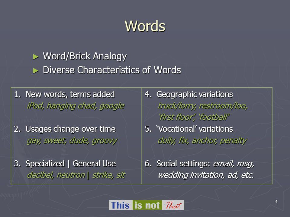 4 Words Word/Brick Analogy Word/Brick Analogy Diverse Characteristics of Words Diverse Characteristics of Words 1. New words, terms added iPod, hangin