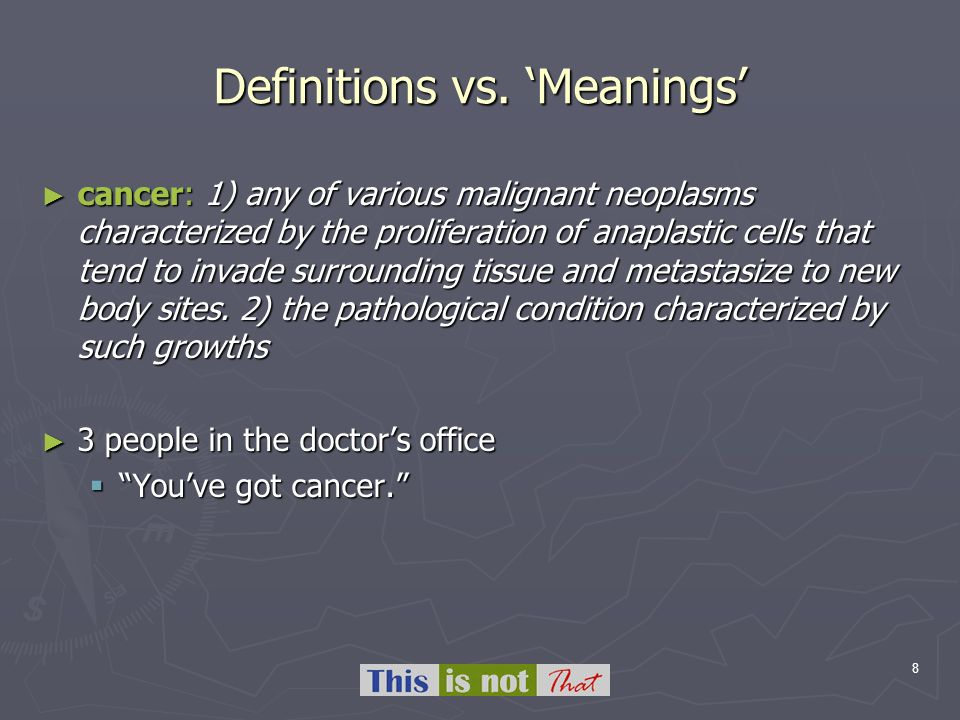 8 Definitions vs. Meanings cancer: 1) any of various malignant neoplasms characterized by the proliferation of anaplastic cells that tend to invade su
