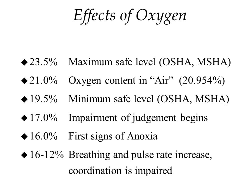 Effects of Oxygen u 23.5%Maximum safe level (OSHA, MSHA) u 21.0%Oxygen content in Air (20.954%) u 19.5%Minimum safe level (OSHA, MSHA) u 17.0%Impairment of judgement begins u 16.0%First signs of Anoxia u 16-12%Breathing and pulse rate increase, coordination is impaired