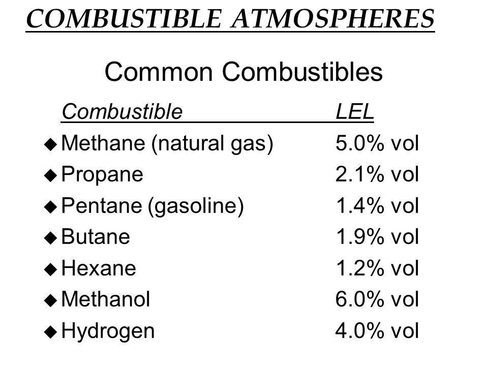 u H 2 S: Colorless, Rotten egg smell u Hazard: Flammable, LEL 4.0% - UEL 46% u Health: Extremely Toxic, appears naturally from decomposition, reacts with the enzymes in the blood - inhibits cell respiration u Exposure:PEL/TWA 10ppm (action level) STEL15ppm u Causes: Groundwater in shaft u Specific Gravity = 1.2 Hydrogen Sulfide Data