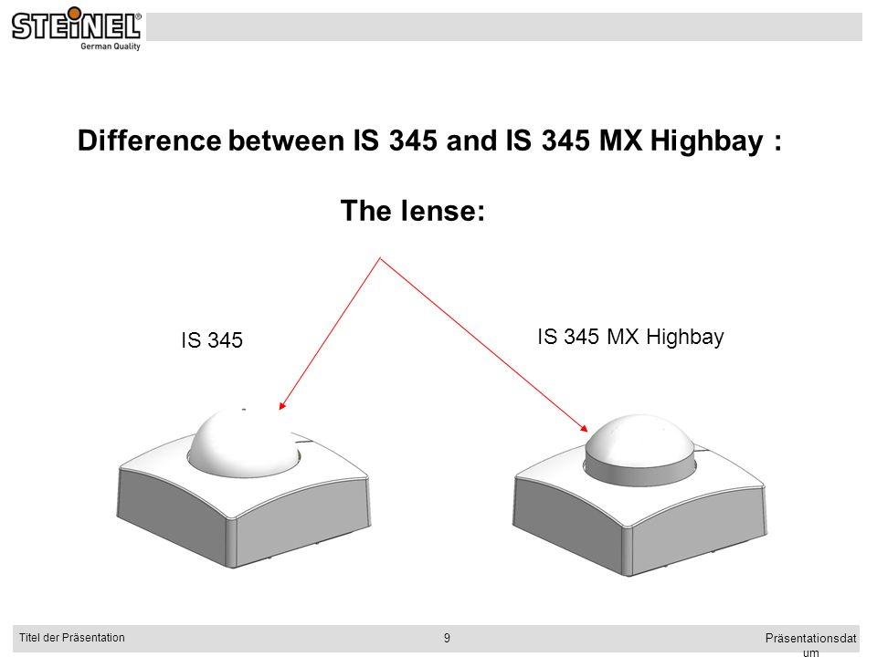 Präsentationsdat um Titel der Präsentation 9 Difference between IS 345 and IS 345 MX Highbay : The lense: IS 345 IS 345 MX Highbay