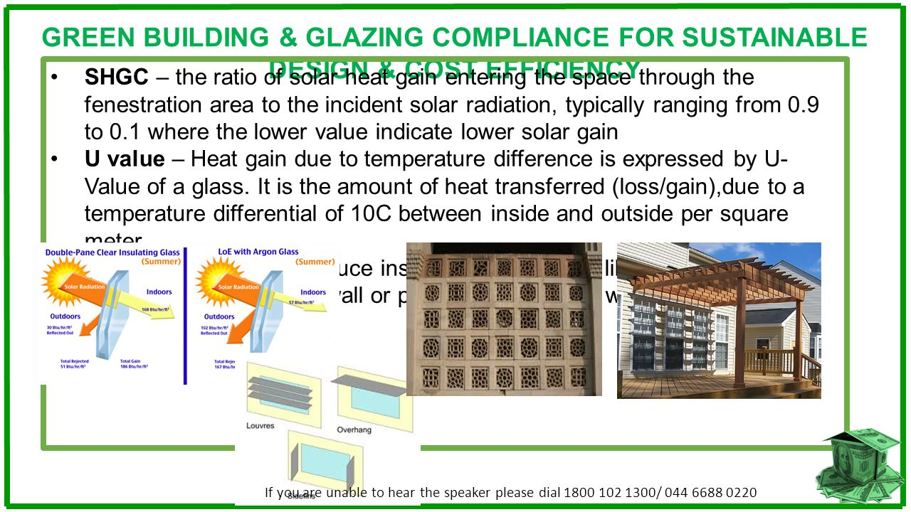 GREEN BUILDING & GLAZING COMPLIANCE FOR SUSTAINABLE DESIGN & COST EFFICIENCY SHGC – the ratio of solar heat gain entering the space through the fenest