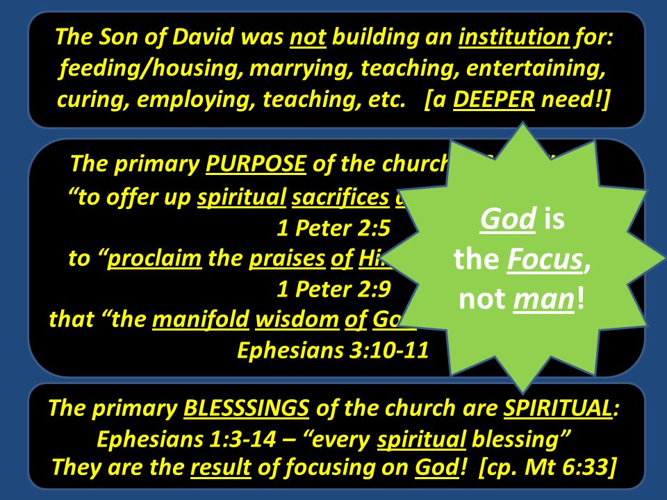 The Son of David was not building an institution for: feeding/housing, marrying, teaching, entertaining, curing, employing, teaching, etc. [a DEEPER n