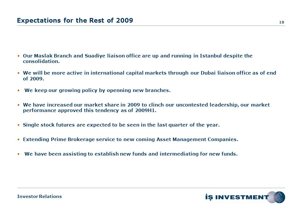 Investor Relations About Us Overview of Capital Markets Our Performance Financial Results Expectations for the Rest of the Year Performance & Financial Results – 2009H1 17