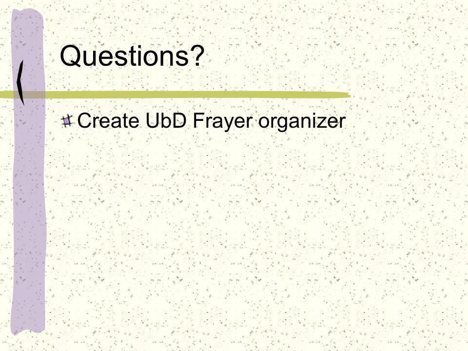 Questions? Create UbD Frayer organizer