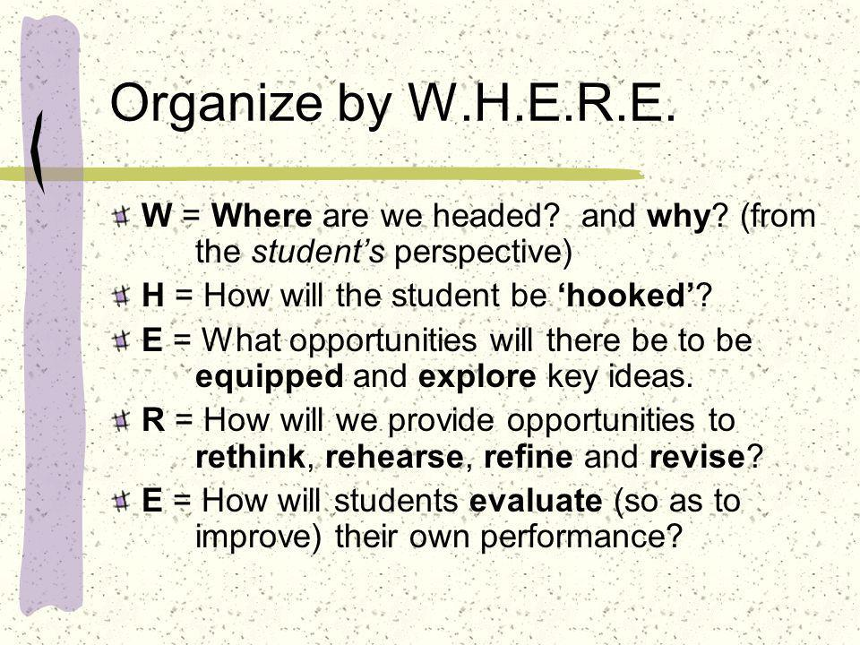 Organize by W.H.E.R.E. W = Where are we headed? and why? (from the students perspective) H = How will the student be hooked? E = What opportunities wi