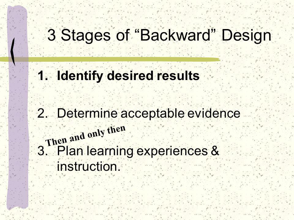 Stage 2 is the essence of backward design & alignment Begin with the end in mind As Alice made her way through the adventures of standardsland, she asked for directions from the Cheshire Cat.