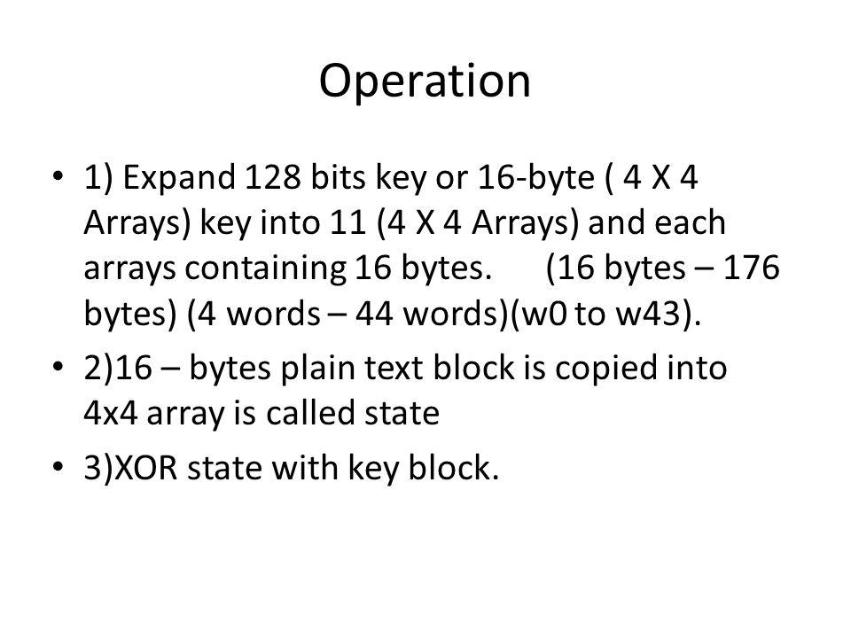 Operation 1) Expand 128 bits key or 16-byte ( 4 X 4 Arrays) key into 11 (4 X 4 Arrays) and each arrays containing 16 bytes. (16 bytes – 176 bytes) (4
